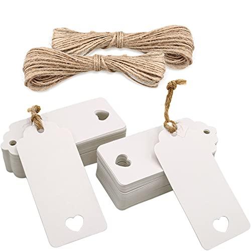 Etiquetas Papel Kraft 100piezas Etiquetas Regalo Blancas 9,5*4,5cm con Cordel Yute para...