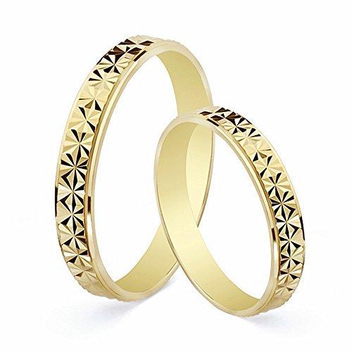 Alianza oro 18k tallada diamantada 3mm. [AA1866]