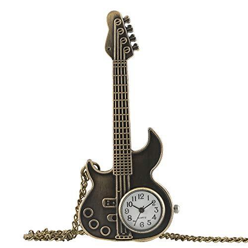 Reloj de bolsillo para hombre, bronce antiguo, estilo vintage, con forma de guitarra,...
