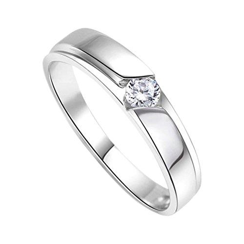 DEHANG Anillo de Plata de Pareja Mujer Hombre con Circonitas Diamantes de Compromiso...
