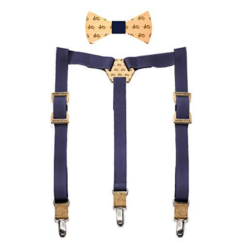 Conjunto pajarita de madera y tirantes Vespa. Colección de moda hombre: hecho a mano en...