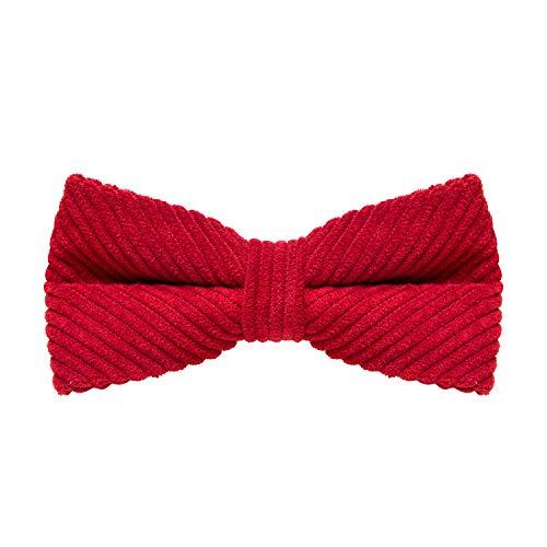 MASADA Pajarita de pana rojo – de ajuste continuo, elaborada a mano con cierre de gancho...