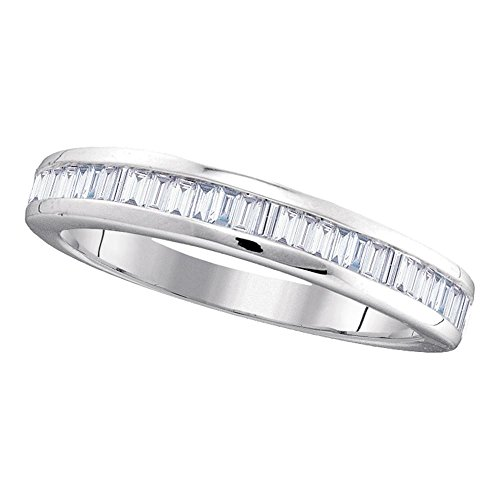 Jewels By Lux - Alianza de Boda de Oro Blanco de 10 Quilates con Diamantes de imitación...