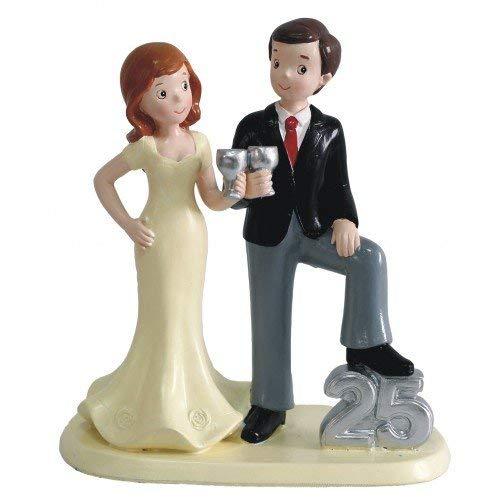 Figura pastel bodas de plata 25 aniversario GRABADA muñecos PERSONALIZADOS tarta baratas