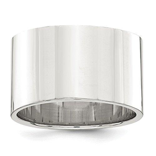 Diamond2Deal - Alianza de Boda Plana para Mujer, Plata de Ley, 12 mm, tamaño 11