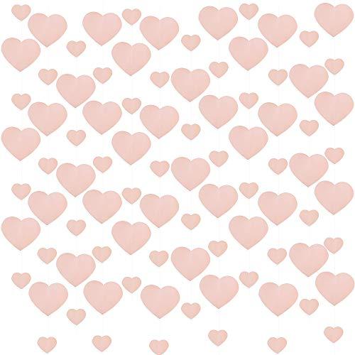 VINFUTUR 6pcs Guirnalda Corazones Papel Banner Corazón Rosa para San Valentín Bandera...