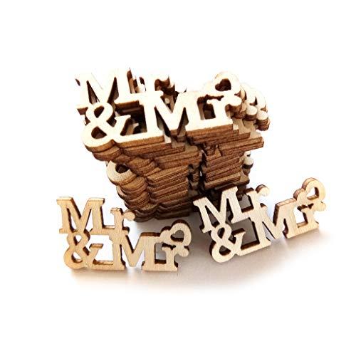 GUMEI 20 Piezas de Madera Mr & Mrs Confeti de Mesa rebanadas de dispersión Vintage...