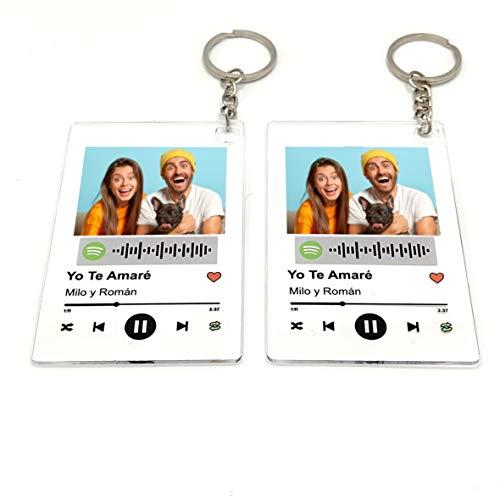 Llavero Acrílico (2 UNIDADES IGUALES) personalizado con canción y foto. 8,5X5,5 cm....