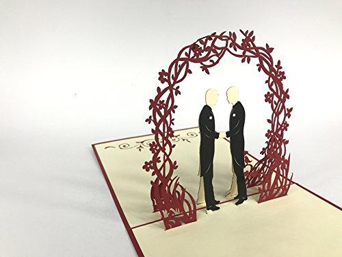 Tarjeta de deseos de la boda boda pareja homosexual bajo las flores arco rojo gran boda...