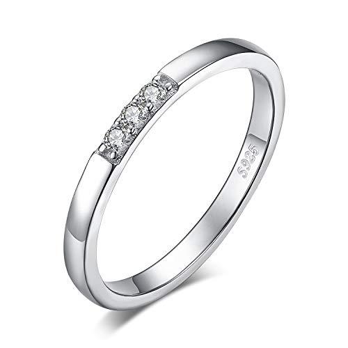 JewelryPalace 3 Piedra Anillos Mujer Plata Diamante Simulado, Anillos de Compromiso Plata...