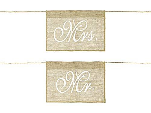 Cartel decorativo para silla, cartel de pared con texto 'Mr & Mrs' de arpillera,...
