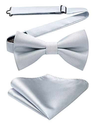 HISDERN Pajarita para hombre corbatín pañuelo Corbatas de lazo preatadas ajustable...