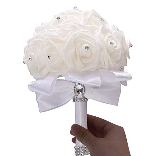 Linian Ramo de Rosas Flores Artificiales, Bouquet Nupcial de Novia de la Boda, Ramo Estilo...