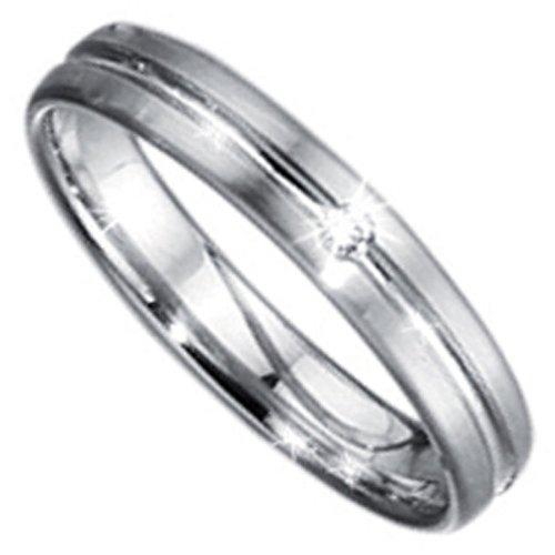 Anillo de boda 950 platino 1 brillante 0,02 ct.