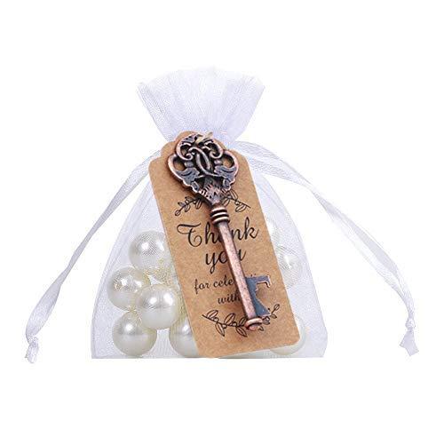 Amajoy - Abridor de botellas con tarjeta y bolsa transparente para regalos de boda, fiesta...