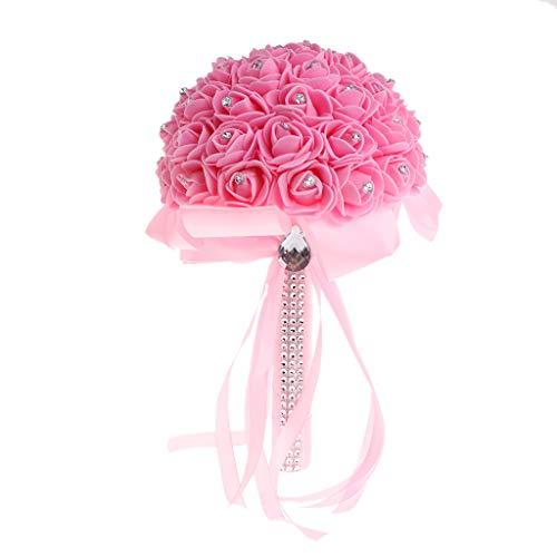 GROOMY Bouquet, Hecho a Mano Nupcial Artificial Espuma Rosas Flor Novia Ramo Decoración...