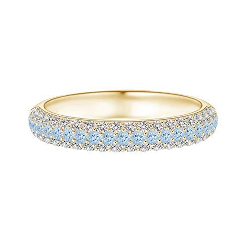Shine Jewel 0.03 Ctw Anillo de Alianza de Boda de Media eternidad con Piedras Preciosas de...