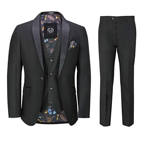 Hombres De 3 Piezas Smoking Traje Negro Equipada Formal Elegante Retro Esmoquin Blazer...