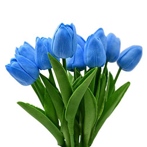 Dolovemk 10 flores artificiales de tacto real tulipán-látex material falso flor, ramo de...