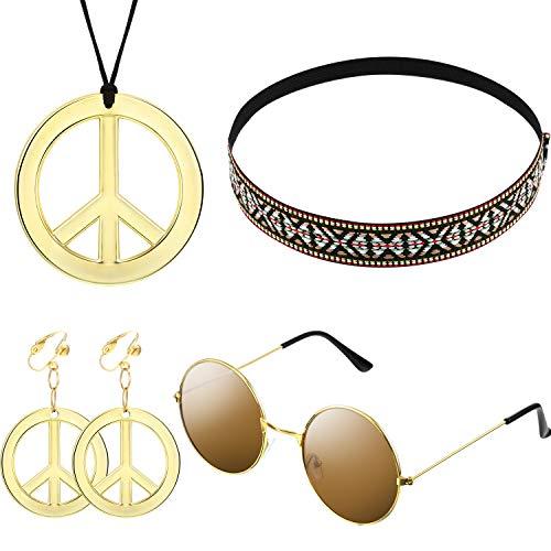 El conjunto de disfraces para mujeres y hombres de Hippie incluye gafas de sol, un collar...