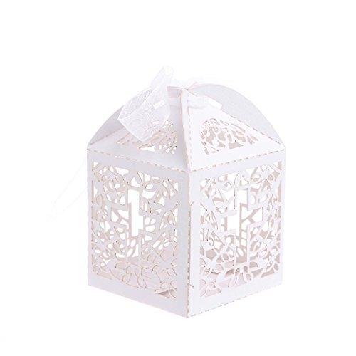 Ycncixwd 50 cajas de caramelos cortadas con láser de cruz con cinta para boda, fiesta,...