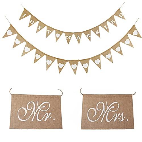 Guirnalda de banderines para boda, vintage, guirnalda de corazones, yute, guirnalda de...