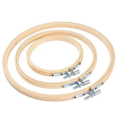 Pllieay 3 piezas de 3 tamaños redondos de aro de bordado de bambú círculo de punto de...