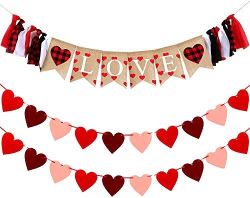 Sayala Decoración de Día de San Valentín Boda,I Love You Guirnalda | Guirnalda de...