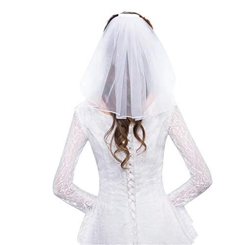 JERKKY Vestido de Novia de Tul Velos Borde de la Cinta Blanca Piedras Falsas Perlas Cortas...