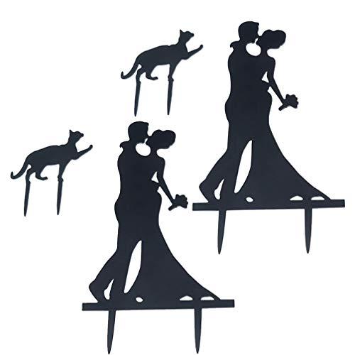 SOIMISS Juego de 2 adornos para tarta de boda con gato, color negro acrílico, silueta...