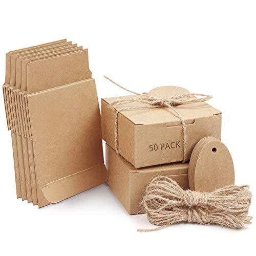 Belle Vous Cajas de Cartón Kraft Marrón (Pack de 50) Cuadradas con Tapa, Cuerda de...