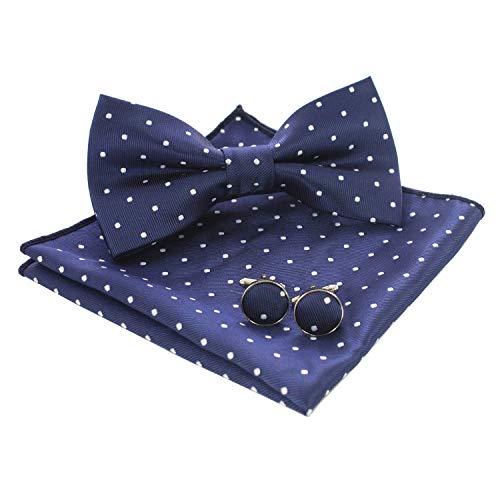 JEMYGINS Pajarita de lunares y pañuelo de bolsillo con gemelos para hombre azul M