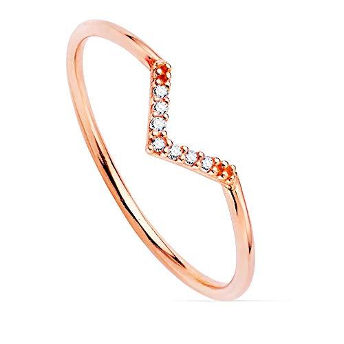 Sortija oro rosa 18k lisa centro pico 7 diamantes 0.035ct. cuerpo redondo