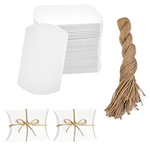 YOTINO 100 piezas de cartón de caramelo blanco para boda, caja de almohada, caja de papel...