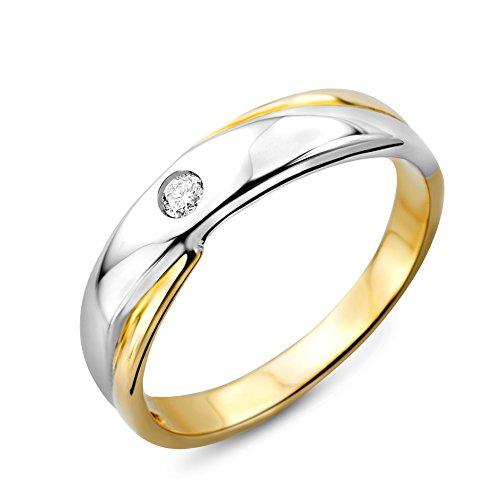 Miore M9003RR58 - Anillo de mujer de oro bicolor (9k) con 1 diamante (talla: 18)