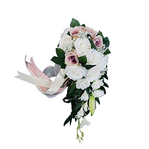 Karrychen Ramo de Cascada Nupcial de Boda romántica Flores Rosas Artificiales con Cinta