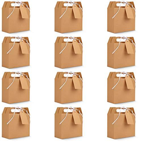 Belle Vous Cajas Kraft Marrón para Fiestas Cajitas para Regalo con Etiquetas (Pack de 20)...