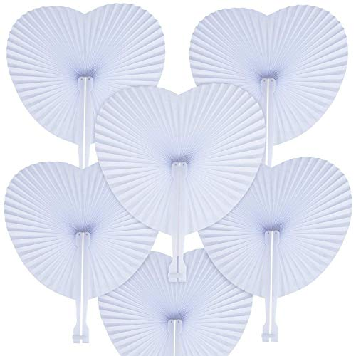 WOWOSS 60 Pcs Abanicos Plegables de Papel Decoración en Forma de Corazón para Invitados...