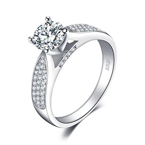 JewelryPalace Anillos Mujer Plata Diamante Simulado, Anillos de Compromiso Plata de ley...