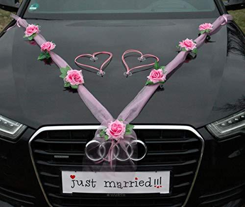 Organza M + Corazones novia pareja rosa decoración coche boda coche boda boda boda boda...