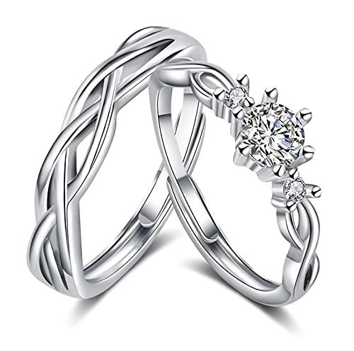 Juliyeh Anillos de pareja de plata 925,anillos pareja,alianzas pareja Exquisito empaque de...