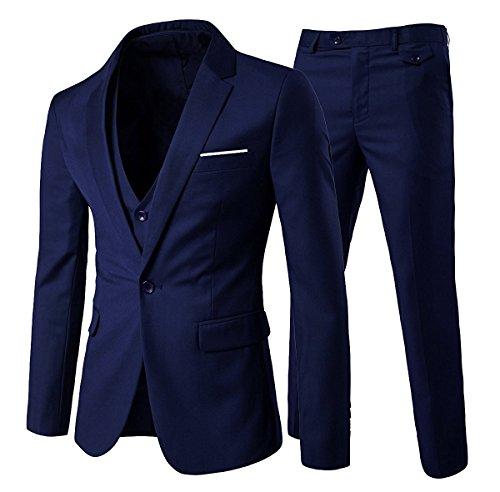 Cloudstyle Traje Suit Hombre 3 Piezas Chaqueta Chaleco pantalon Traje al Estilo...