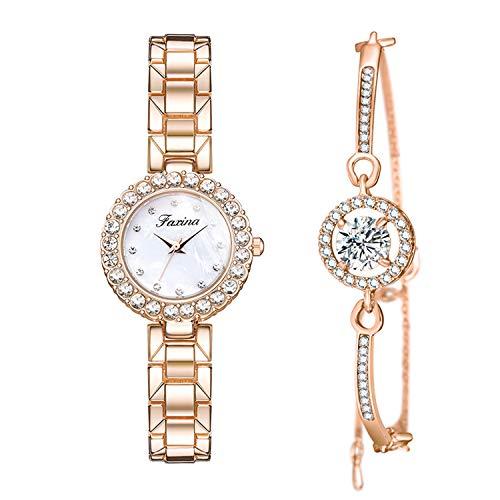Conjunto de Reloj Mujer Cristales Relojes Oro Rosa Brillante Relojes Elegante Esfera...