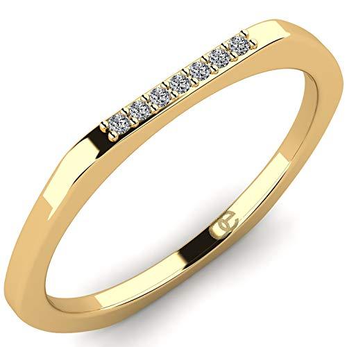 Elegante anillo Kamala de oro amarillo 9K 375 con 7 diamantes VS 0,035 ct - Anillo de...