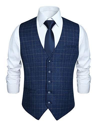 HISDERN Chaleco de traje azul marino para hombre Chaleco de vestir de fiesta de boda...