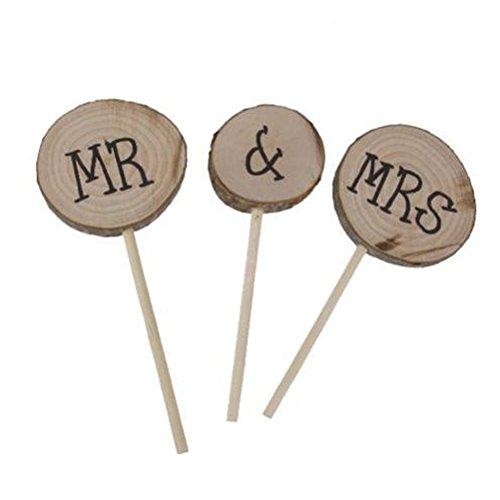 ULTNICE 3 adornos de madera para tartas de boda y compromiso de Mr Mrs