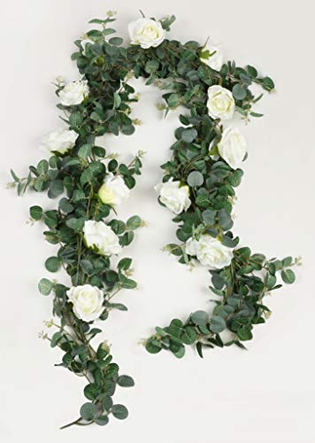 Famibay Guirnalda Eucalipto Artificial con Flores de Rosas Plantas Colgantes Eucalipto...