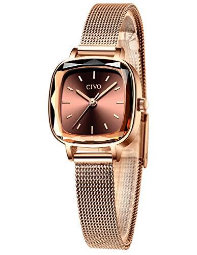 CIVO Relojes Mujer Relojes de Señoras Acero Inoxidable Minimalista Impermeable Oro Rosa...