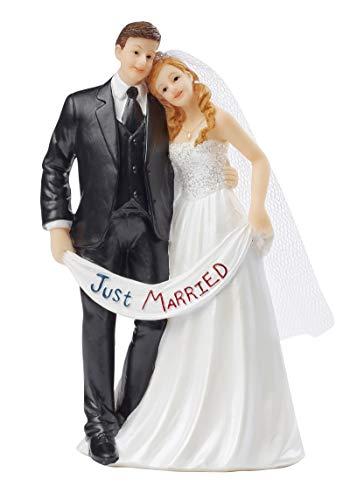Figura de pareja de novios con pancarta, 13,5 cm
