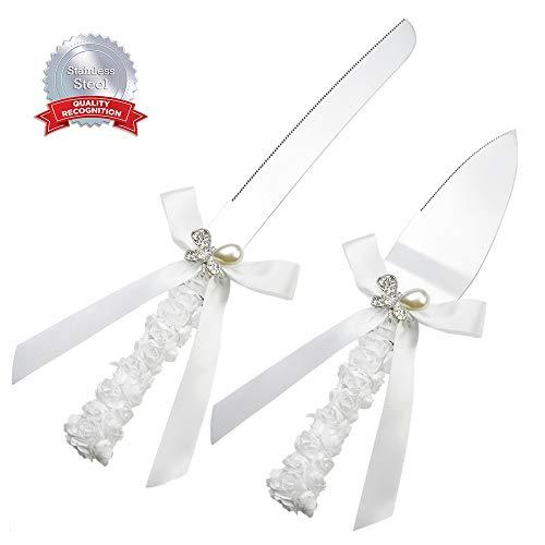 DÉCOCO Juego de 2 piezas de cinta de seda con lazo de mariposa de perlas de acero...